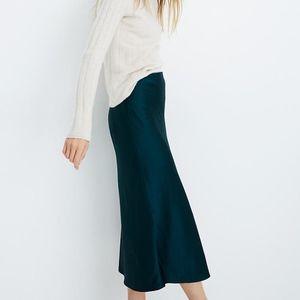 Madewell Satin Midi Slip Skirt  NWOT